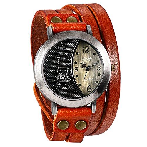 JewelryWe Herren Damen Armbanduhr, Orange Leder Armband Wickelarmband, Retro Eiffelturm Design mit Strass, Analog Quarz Uhr, einfaches Digital Zifferblatt