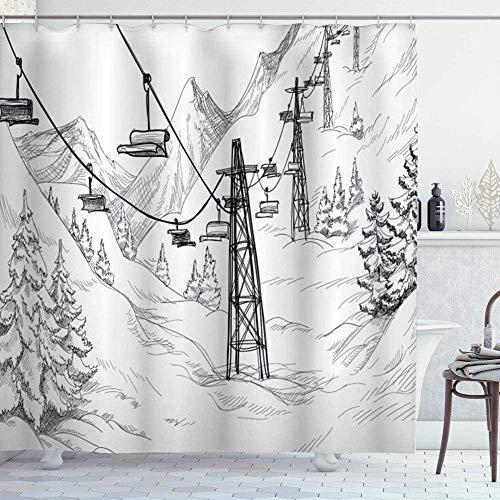 Duschvorhang, für den Winter, Ski, Lift mit Bäumen, einfarbig, für Jahreszeiten, Holiday Destination, Themed Sketch, wasserdichte Duschvorhänge, Badezimmerdekoration, 72 x 72 cm