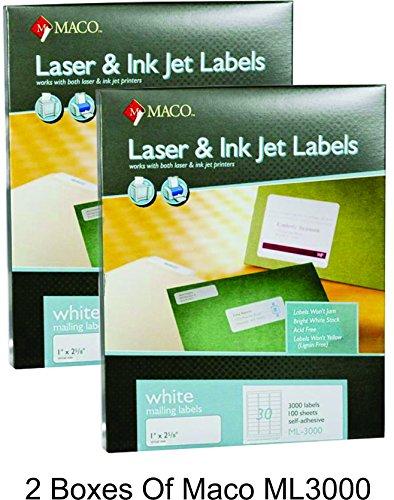 MACO Laser/Ink Jet White Address Labels, 1 x 2-5/8 Inches, 30 Per Sheet, 3000 Per Box (ML-3000) (2 Boxes)