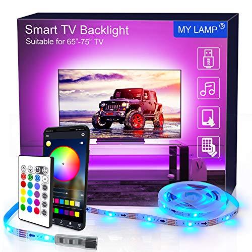 LED TV Hintergrundbeleuchtung APP, 4.36M USB-LED-Lichtleisten mit Fernbedienung für 65-75 Inch RGB 5050 APP-Steuerung Synchronisierung mit Musik Bias Beleuchtung