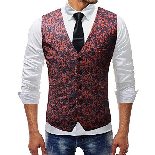Legogo Mannen Floral bedrukt pak vest jurk vest voor mannen Smoking vest