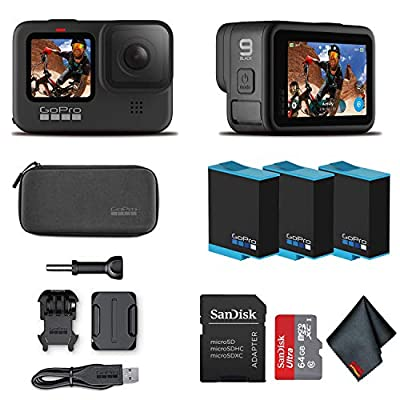 GoPro HERO9 Black - Waterproof Action Camera with Front LCD and Touch Rear Screens, 5K HD Video, 20MP Photos, 1080p Live Streaming, Stabilization + Sandisk 64GB Card and 2 Extra HERO9 Batteries from GoPro