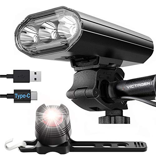 Victagen 4000 Lumens Type-C Bike Lights Front and Back, 3 LED Rechargeable Bike Headlight, 8 Lights Modes Bike Night Lights, Easy to Install USB Bike Light, Fits for Mountain, Road, Kids Bikes
