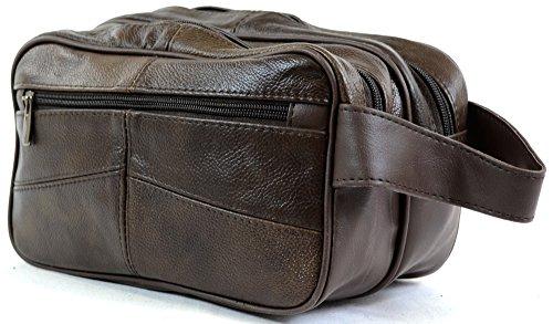 Bolsa de aseo para hombre, de piel, para artículos de aseo personal / viaje / vacaciones / pasar la noche fuera / fin de semana (color negro o marrón) marrón marrón