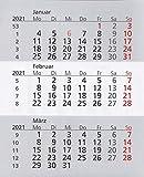 HiCuCo Kalendarium für 2 Jahre (2021 und 2022) passend für 3-Monats-Tischkalender TypW