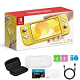 """Newest Nintendo Switch Lite Game Console, 5.5"""" LCD Touchscreen Display, Built-in Plus Control Pad, Yellow, Bundled with TSBEAU 128GB Micro SD Card & 8 in 1 Carrying Case Cover Protector Accessories"""