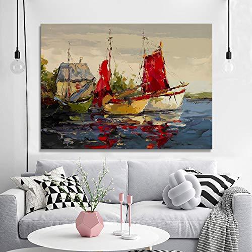 SADHAF Modern Abstract Landschap Poster en muur Art Print Canvas Schilderij zee Boot Woonkamer Home Decoratie 50x70cm (no frame) A3