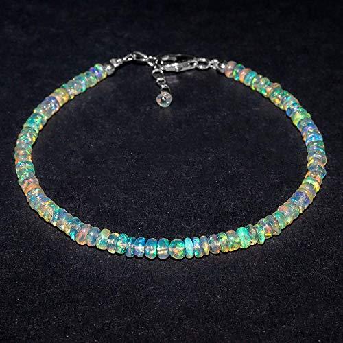 AA+ Pulsera de piedras preciosas de ópalo etíope de fuego natural, piedras de nacimiento, cuentas curativas, joyería de regalo premium en cadena chapada en plata de 8 pulgadas, 3-4 mm - IFGART-89