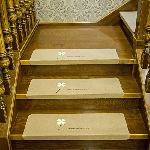 Stair Treads Carpet Non Slip,Self Adhesive Skid Indoor Outdoor Stair Mats for Wooden Steps, Washable Stair Rugs for Kids, Elders and Dogs, 8.7 X 21.7in, 5 Pieces (Beige)