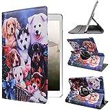 ipad 4 Generation case Rotating ipad 3 ipad 2 case for Ipad Model A1458 A1430 A 1416 Md510ll /A Mc979ll/A with Screen Protector Stand Smart Covers Support Wake/Sleep Function (Dog Design)