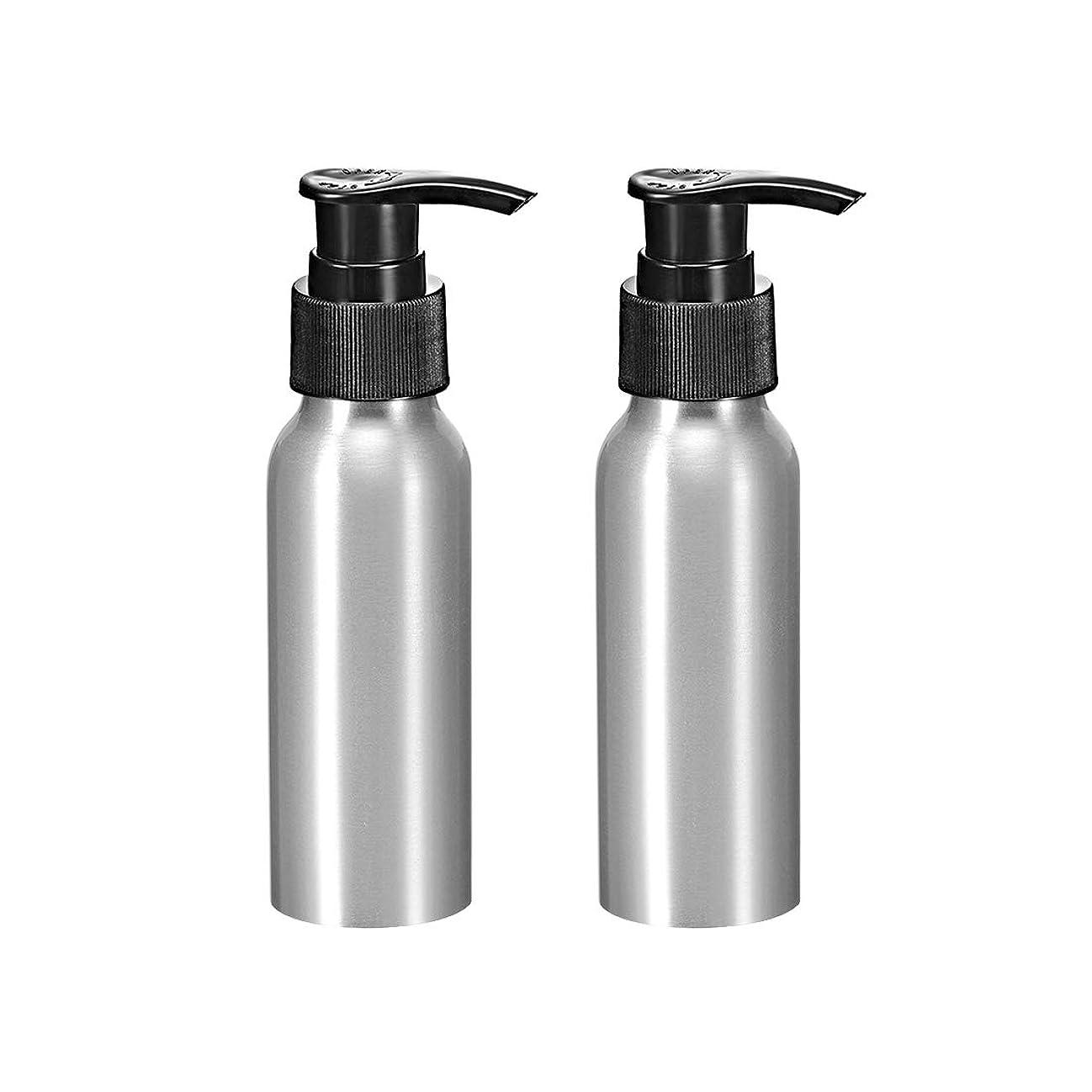 uxcell uxcell アルミスプレーボトル ブラックファインミストスプレー付き 空の詰め替え式コンテナ トラベルボトル 2.7oz/80ml 2個入り