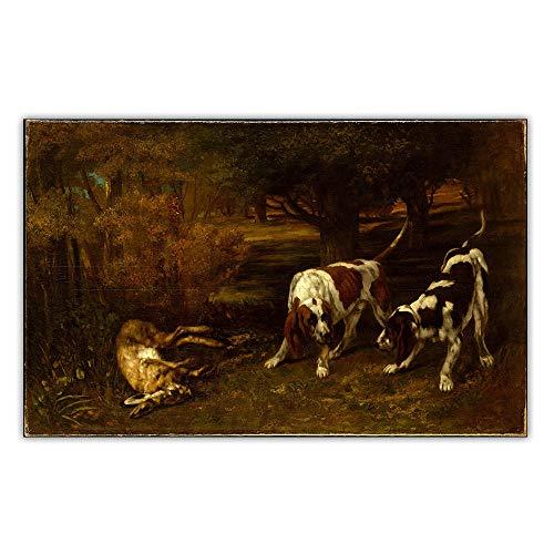 THTHTH Gustave Courbet Poster《Cani da Caccia con Lepre mortaPaesaggio su Tela Dipinti e Stampe per la Decorazione del Soggiorno Immagini 70x100cm x1 Senza Cornice