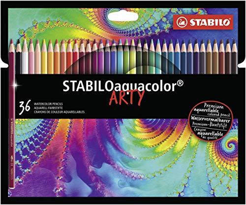Lápices de color acuarelables STABILOaquacolor ARTY - Estuche con 36 colores