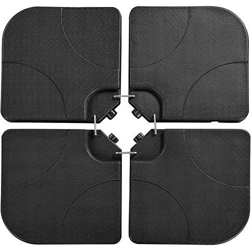 Yaheetech Sonnen Schirmständer 4-teilig Schirmgewicht Bodenkreuz Beschwerungsplatten mit Sand/Wasser befüllbar Balkonschirmständer für Armpelschirm