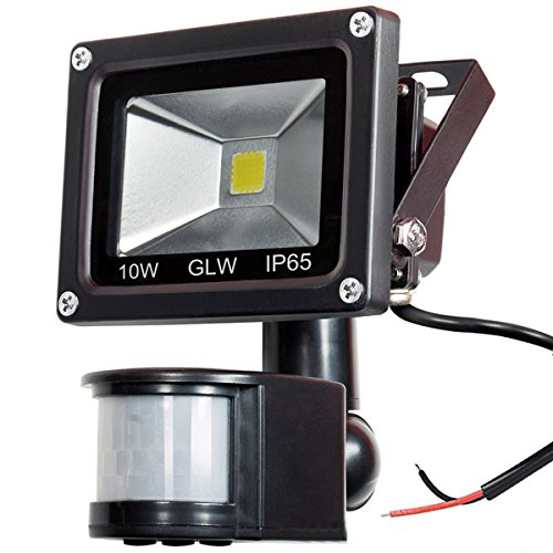 GLW 12V AC or DC LED Motion Sensor Flood Light,10W Mini IP65 Waterproof Outdoor Light,900LM,6000K,Daylight White Security Light with PIR,80W Halogen Bulb Equivalent[NO Plug]