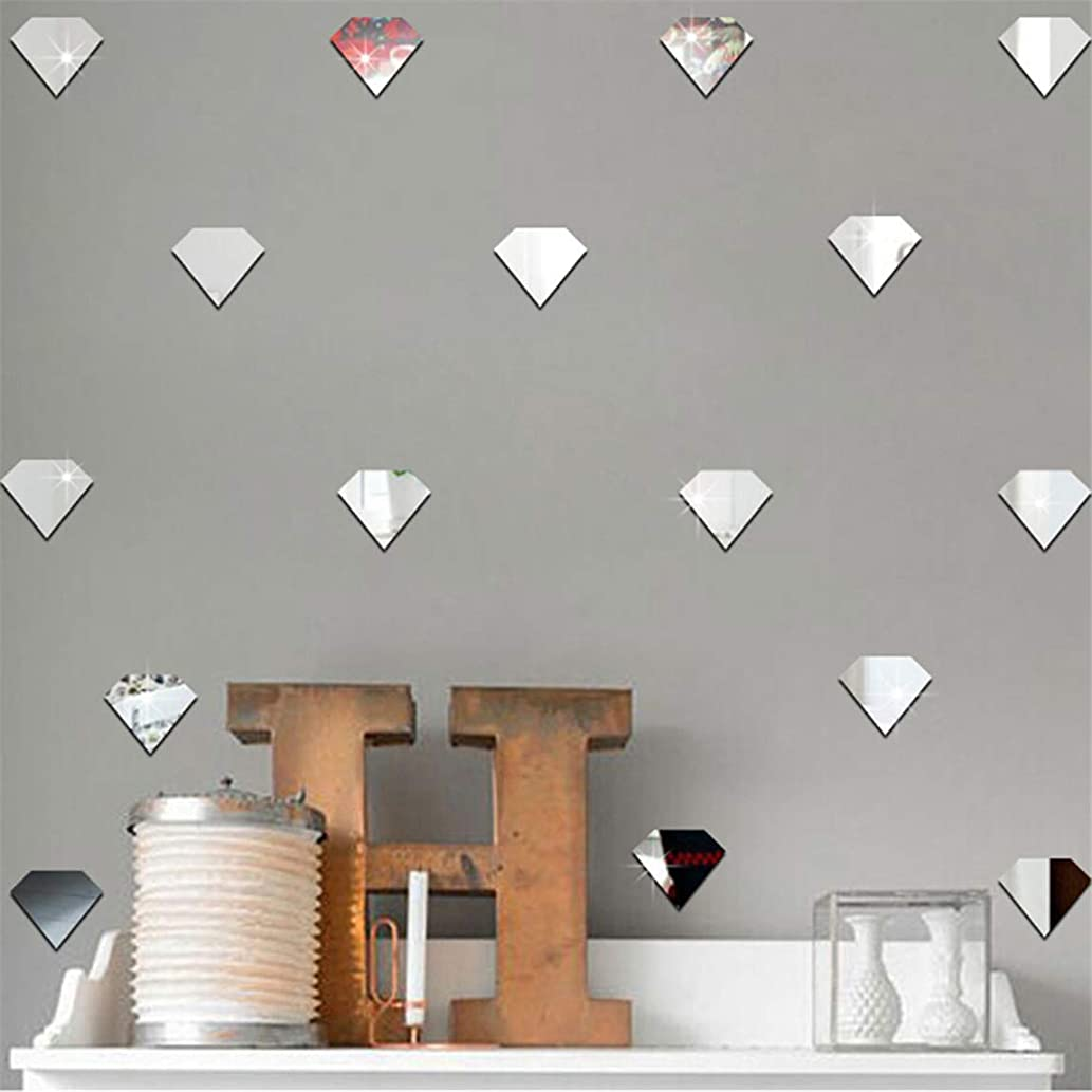 Weiy 12Pcs Nordic Style Diamond Acrylic Mirror Wall Decal Sticker Set DIY Self-Adhesive Removable Art Decals Mural for Home Living Room Bedroom Decoration