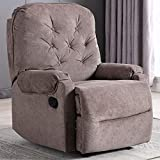Fabric Recliner Chair with Self-Adjusting The Backrest and Footrest, Recliner Chair Comfortable for Living Room/Bedroom/Theater Room - Brown