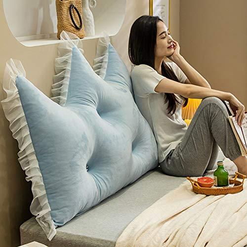 Waschbar Kissen Bett Rückenlehne Kopfteil Kissen Lesen Rückenlehnenkissen Softpack Sofa Großes Rückenbett Doppelt Langes Kissen,Anti-Kollision Light Blue 150 * 72cm