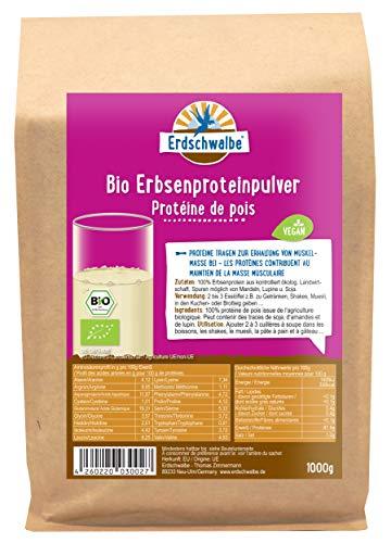 Erdschwalbe Bio Erbsenprotein - Hergestellt in der EU - 87% Proteingehalt - Veganes Eiweißpulver - 1 Kg