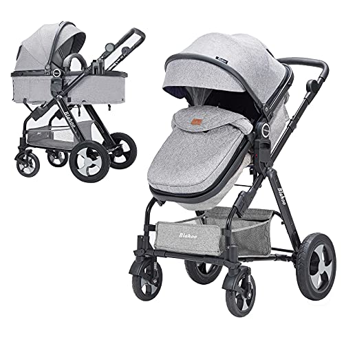 Blahoo Baby Stroller for Toddler .Foldable Aluminum Alloy Pushchair with Adjustable Backrest.Strollers Add Stroller Cover, Cup Holder, Net(Grey)