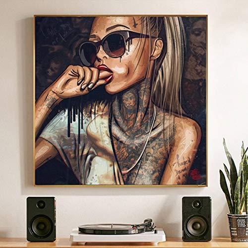 Impresión en lienzo abstracto fresco chica sexy tatuaje lienzo pintura llevar gafas mujeres sexy retratos carteles e impresiones cuadros de arte de pared para sala de estar-70x70cm sin marco