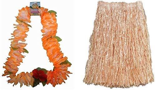 WPN Hawaiian XL Straw Grass Skirt & Orange Flower Leis Garland Fancy Dress