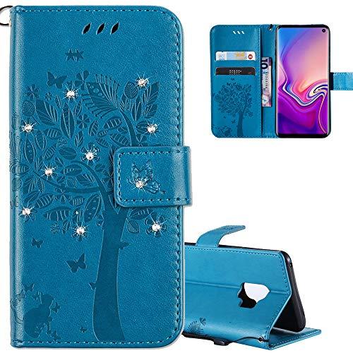 COTDINFOR Huawei Honor 8 Hülle für Mädchen Elegant Retro Premium PU Lederhülle Handy Tasche mit Magnet Standfunktion Schutz Etui für Huawei Honor 8 Blue Wishing Tree with Diamond KT.