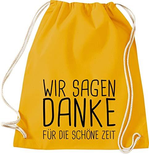 Shirtstown Sac de gym, nous vous remercions pour la belle période scolaire Kita Hort Erzieher Lehrer Lehrerin Spruch, Sac de sport, Moutarde, 37 cm x 46 cm