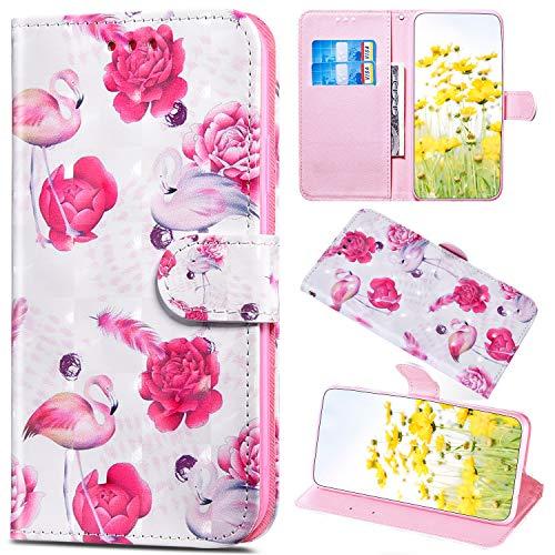 Saceebe Compatible avec Samsung Galaxy A50 Coque Paillette Glitter Bling Cuir Portefeuille Étui à Rabat Pochette Housse de Protection Flip Case Magnétique Porte-Cartes Stand,Flamingo Rose