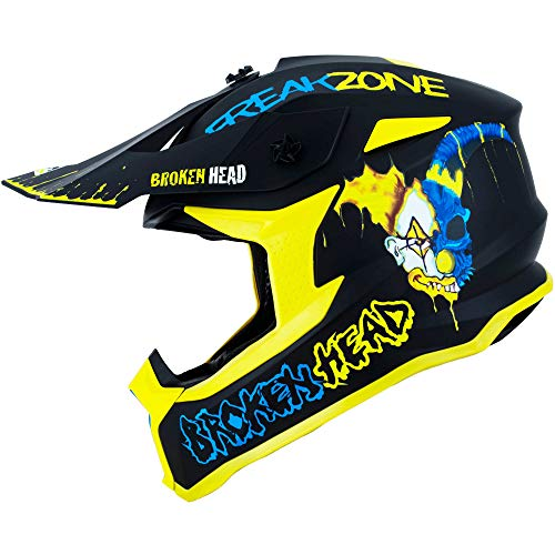 Broken Head FreakZone Cross-Helm Blau-Gelb – Motocross – MX – Quad – Supermoto (L 59-60 cm)