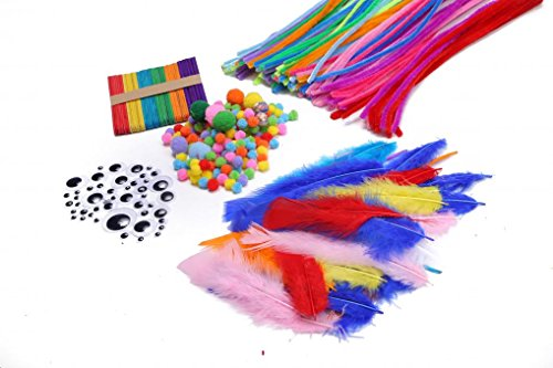 WODISON 840 Piece Pipe Cleaners Set Craft Chenille Stems 4.5 mm x 11.8 Inch, Self-Adhesive Wiggle Googly Eyes and Pom Poms Art Making Supplies Craft Sticks DIY Feathers Christmas Gift