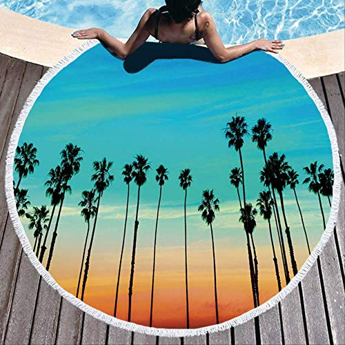 Coconut Tree Beach Beauty Rundes Strandtuch Dickes Badetuch Mikrofaser Sommer Schwimmring Yogamatte 150x150cm Muster 12
