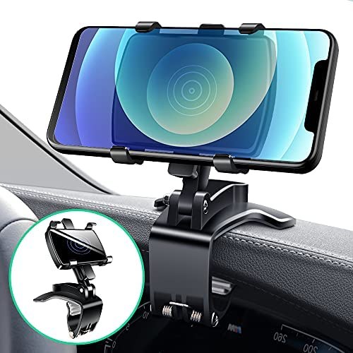 Car Mount for Cell Phone, DuHeSin Car Dashboard Phone Holder Phone Clip for Car Truck Strong Clip Compatible with GPS iPhone 12 11 Pro Max Samsung Galaxy Note S21 Ultra and 4 to 7 inch Smartphones