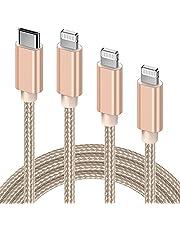 GlobaLink USB C till Lightning-kabel, 3-pack 123M【MFi-certifierad】Nylonflätad iPhone-laddkabel supersnabb laddning dataladdning kompatibel med iPhone 12 11 Pro Max XR X 8 Plus SE, iPad Mini MacBook-guld