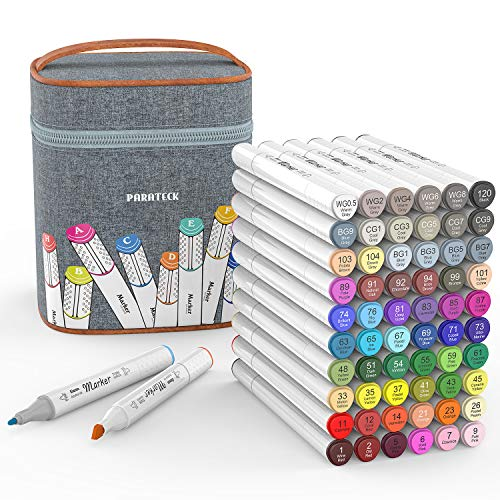 60 Colors Art Markers Bulk Set, Alcohol Art Markers,Dual Tips Permanent Artist Art Markers Set with Carrying Case- Ideal for Adults Kids Drawing Coloring Gifts