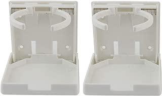 Ogrmar 2PCS Adjustable Folding Drink Holder/Adjustable Cup Holderfor Marine/Boat/Caravan/Car (White)