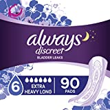 Always Discreet Incontinence & Postpartum Incontinence Pads for Women, 90 Count, Extra Heavy Long (45 Count, Pack of 2 - 90 Count Total)
