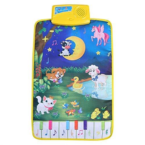 Zerodis Baby Musical Teppich Spielteppich Klavier Tier Musikmatte Pädagogisches Lernspielzeug Geschenk für Kinder Kleinkinder
