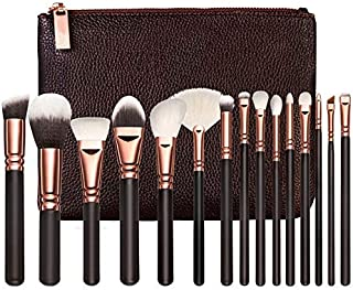 STELLAIRE CHERN Professional Makeup Brush Set 15pcs Wood Handle Essential Makeup Kit with PU Leather Bag - Black