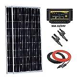 Giosolar 200 W 12 V Panel Solar Starter Kit: 2 x 100 W Mono Solar Panel con 30 A LED Control de Carga para RV Barco Off-Grid
