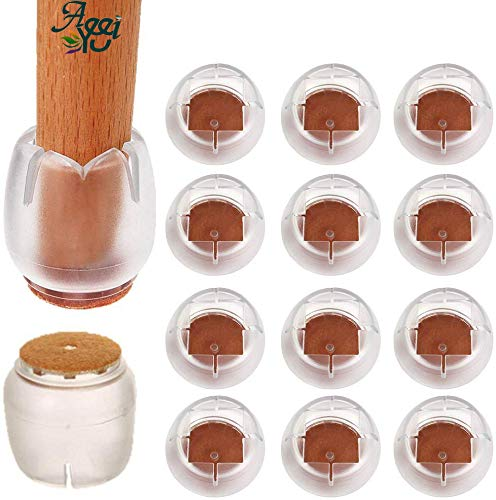 Tappi per gambe in silicone per sedie, piedini per sedie Piedini per protezioni (rotondi), cuscinetti in feltro antiscivolo size adatto per 21-25mm