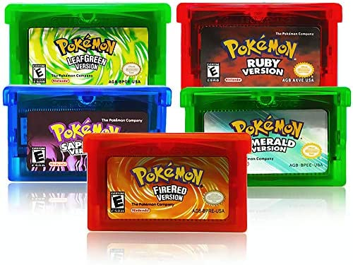 5 Pcs Pokemon Emerald Ruby Sapphire FireRed LeafGreen Version GBA Game Pocket Monster Third product image