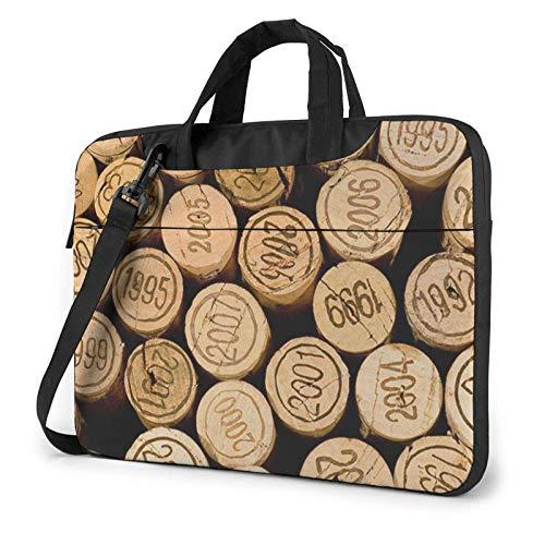 Bolsa de Mensajero de Hombro para computadora portátil Tapón de Botella de Vino con Funda de Estuche con Estampado Vintage para maletín de computadora portátil de 15.6 Pulgadas