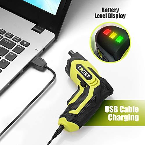 CACOOP Electric Cordless Screwdriver Rechargeable Set 4V 1500mAh Li-ion Battery MAX Torque 5N.m, 24pcs Driver Bits, USB Charger Cable