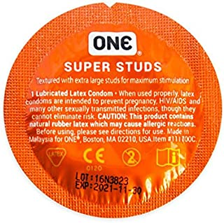 ONE Super Studs with Silver Lunamax Pocket Case, Ribbed-Studded Lubricated Latex Condoms-24 Count