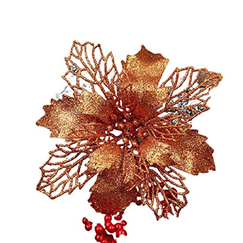 Artificial Flowers Merry Christmas Christmas Tree Ornaments for New Year Home Wedding Party Decorations, 1/5/10 Pieces Sparkle. (10cm Red, 10pcs)