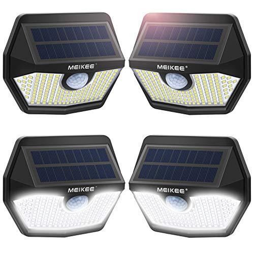 MEIKEE Solar Lights Outdoor, [150 LEDs/4-Pack] Solar Outdoor Lights Motion Sensor 270° Wide Angle Security Lights, IP65 Waterproof Wireless Solar Lamp for Steps Garden Patio Yard Deck Garage Wall