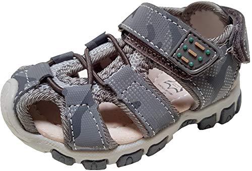 gibra® Sandalen Trekkingsandalen für Babys und Kleinkinder, mit Lederfußbett, Art. 7847, mit Klettverschluss, grau, Gr. 25