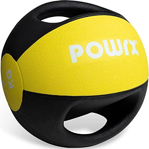POWRX Balón Medicinal con Asas 3 kg - Ideal para Ejercicios de »Functional Fitness«, fortalecimiento Muscular y rehabilitación + PDF Workout (Amarillo)