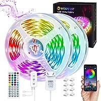 WOANWAY Striscia LED,10m RGB Luci LED Funzione Musicale Controllo App e Telecomando,Strisce LED 20 Colori 8 Modalità,5050 RGB Luci Colorate per Decorazioni,TV,Camera da letto Cucina,Bar,Festa…